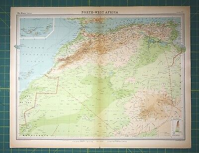 North Africa Morroco Plate 76 - Vintage 1922 Times World Atlas Antique Folio Map