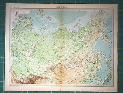 Siberia Russia Plate 67 - Vintage 1922 Times World Atlas Antique Folio Map