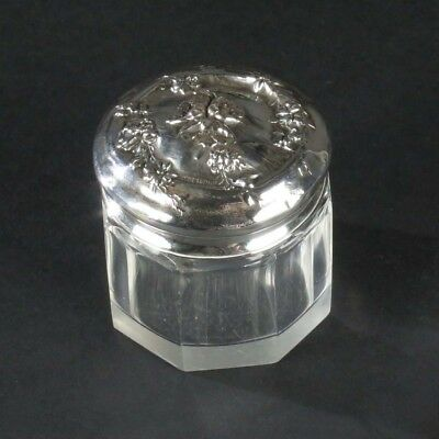 Antique dresser jar sterling silver lid vanity box miniature glass