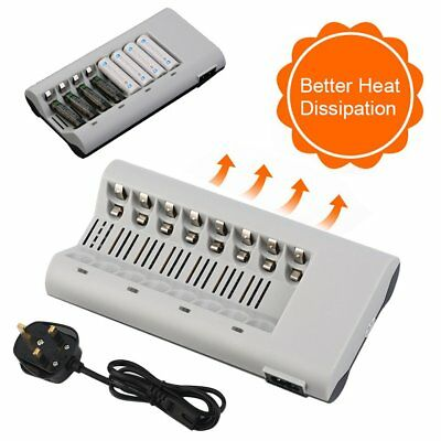 8 Slot Battery Charger for AA AAA NI-MH NI-CD Rechargeable Battery With UK Plug