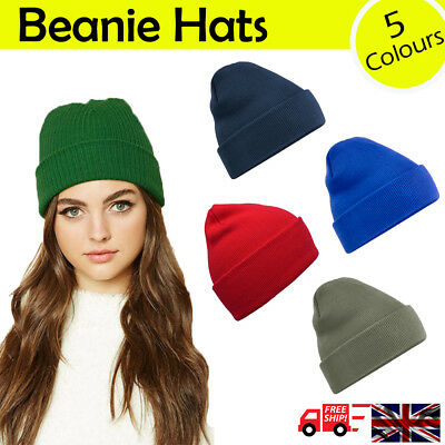 Mens Ladies Womens Soft Knit Woolly Winter Ski Turn Up Warm Beanie Hat 5 Colours