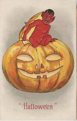S21.1081 Early Devil Popping Out of a JOL Vintage Halloween Postcard c 1910