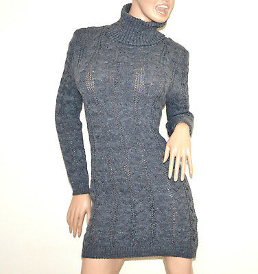 3b799833faf Robe gris femme manche longue col haut pull tricot laine chandail made italy  G56