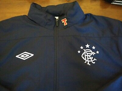 Glasgow Rangers Training Jacket Coat XL 2010 Season Umbro Navy Blue Worn 5 Times