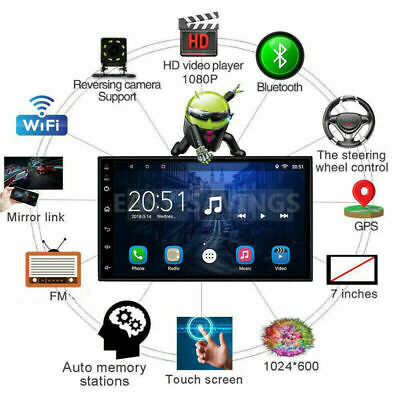 Android 8.1 Double 2Din Car Stereo Radio GPS Navi Wifi OBD2 HD Mirror BT no DVD