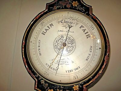 ANTIQUE  BAROMETER A.D. Buchanan Boston c1835-1841 Inlaid MOP Ebonized Case