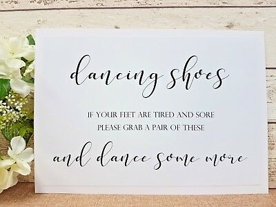 532db169f Dancing shoes wedding Sign A4 Print White Ivory Craft Brown fancy script  rustic
