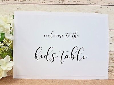 01e9c82f58ef kids table A4 wedding Sign or Print White Ivory Craft Brown script rustic  boho