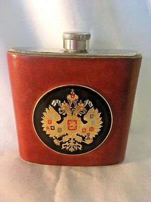 Vintage Russian Drinking Flask-1917 Russian Empire seal on Leather Cover****