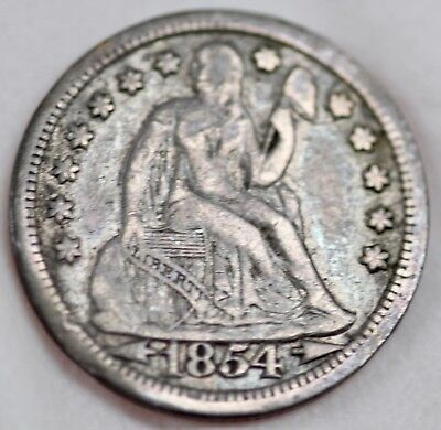 1854 Seated Liberty Dime with ARROWS at DATE 10c Coin