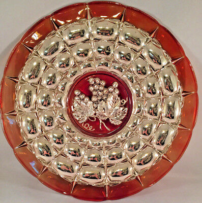 """Antique Vintage Silver Overlay Ruby Red Glass 13"""" Plate Platter Grapes"""