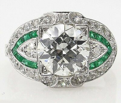 2.30CT Antique Vintage Art Deco Round Cut and Emerald Engagement Ring 925 Silver