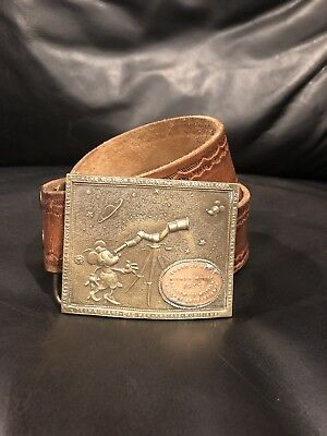 Vintage Walt Disney Award Of Merit Buckle With Leather Belt
