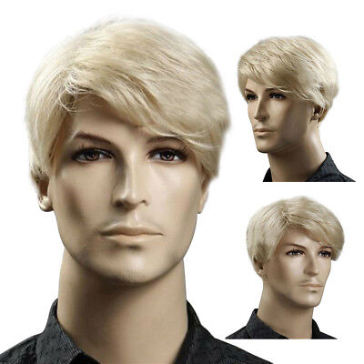 Short Men Hair Wig Male Hairpiece Blonde Straight Synthetic Wig Cosplay Costume