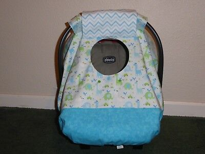 **BABY ANIMALS**Fitted  w/peekaboo opening Handmade Baby Car Seat Canopy-Cover