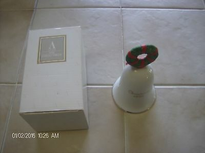 AVON Christmas Bell 1995 Hand painted Santa Clause Wreath 22K gold Trim with box