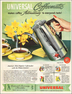 1950 vintage beverage AD UNIVERSAL Coffeematic Coffeemaker New Britain CT 113017