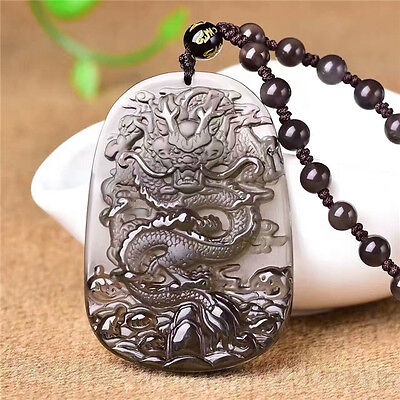 Natural ice kinds of obsidian hand-carved dragon pendant free beads