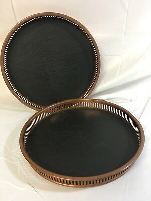 (2) Vintage Coppercraft Guild Copper Bar Serving Tray black Faux Leather & Wood