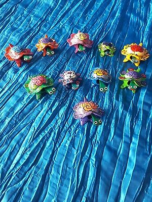 10 turtles wooden painted bobble head figures