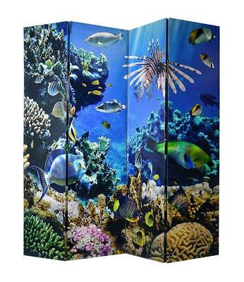 "70""h Undersea View Four-Panel Canvas Room Screen Divider Tropical Blue Fish Tall"