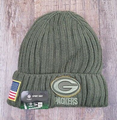 845ef14bf59 Men s NewEra NFL Green Bay Packers 2017 Salute To Service Cuffed Knit Hat  Beanie