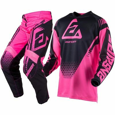 NEW Answer Mx 2019 Syncron Drift Flo Pink/Black Kids Motocross Racing Gear Set