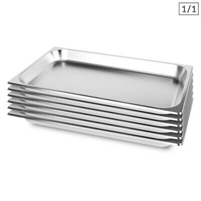 SOGA 6 x Full Size 1/1 GN Pan 65MM Deep Stainless Steel Gastronorm GN Pan Tray