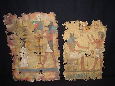 Rare Antique Ancient Egyptian God Anubis Book Of Dead On Leather 1279 -1213 BC
