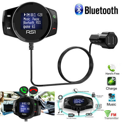 RS1 Wireless Car Bluetooth FM Transmitter MP3 Radio Adapter Car Kit USB Charger
