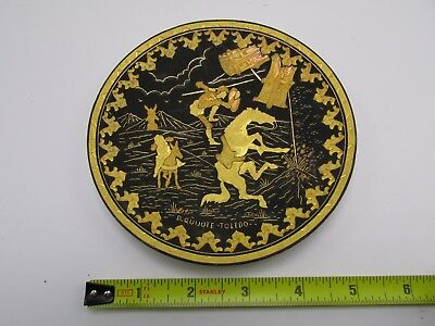 Don Quixote 24 K Gold Etched Dish/Tray Toledo Damascene