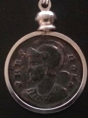 Constantine Great SheWolf Genuine AE3 Ancient Roman Coin VRBS ROMA Pendant Lot#2