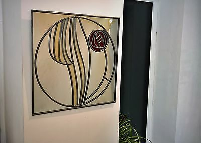 STUNNING TOPPER WHITE ART DECO ROSE STAINED GLASS WINDOW  FRAME  DIE CUTS