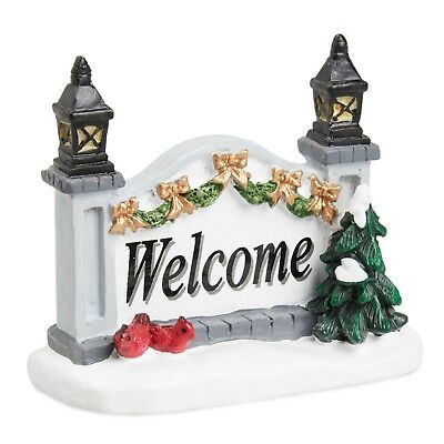 Holiday Time Christmas Village House Accessories - Welcome Gate Sign