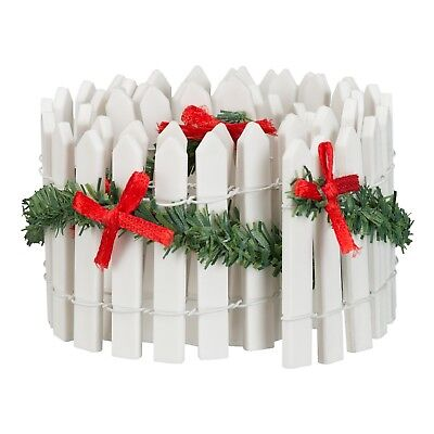Holiday Time Christmas Village House Accessories - White Fence W/ Garland & Bows