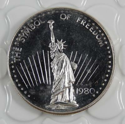 Vintage 1980 The Symbol of Freedom Statue of Liberty 1 Oz 999 Silver Round C0617