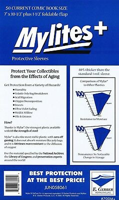 50 Mylites+ CURRENT SIZE (Modern) 1.4-mil Mylar Comic Bags 700M+ by E. Gerber
