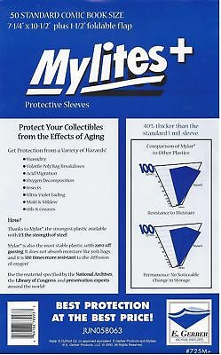 50 Mylites+ STANDARD SIZE  1.4-mil Mylar Comic Bag Sleeves 725M+ by E. Gerber