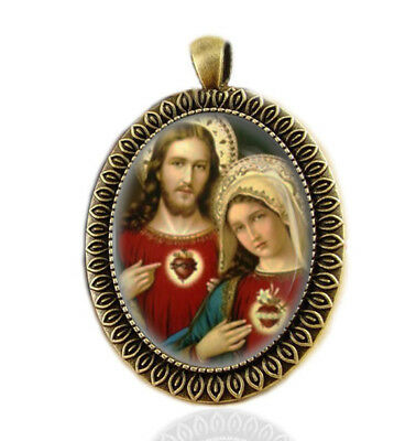 Two Hearts Catholic Medal. Jesus Sacred Heart and Mary Immaculate Heart Pendant