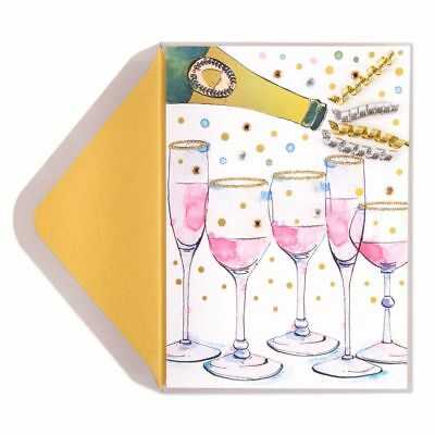 papyrus greetings card happy new year card champagne glitter flutes
