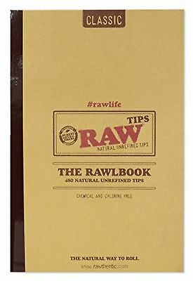 RAW Classic Rawlbook 480 Count Book of Natural Unrefined Rolling Tips New