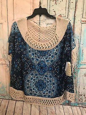 08aa3ce1853 One World Womens Blue Top 1X Crochet Top And Bottom Colorful Blouse Tunic
