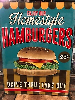 Hamburgers Homestyle Retro Metal Sign