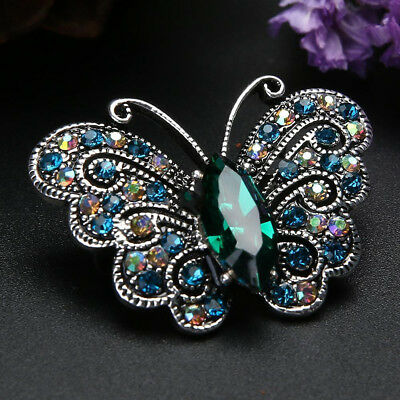 Women's Vintage Rhinestone Crystal Butterfly Gift Bridal Bouquet Brooch Pin