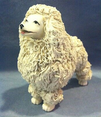 "Vintage Ceramic Porcelain Spaghetti Ware White Poodle Dog Japan 4"" No Tail"