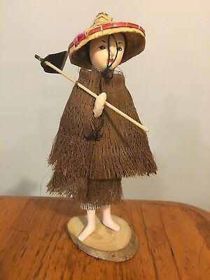 Vtg Asian Oriental Rice Patty Farmer Doll w/ Straw Coat & Bamboo Coolie Hat