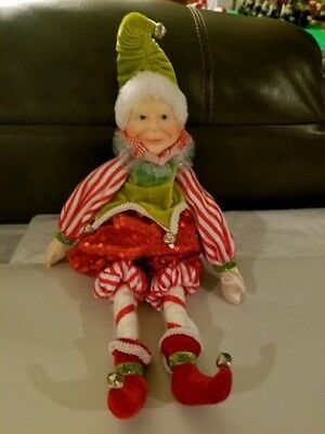 "NICE Retired Katherine's Collection Elf Christmas Decoration Decor Doll 17"" RARE"