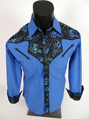 Mens Snap-Up Western Style Shirt Royal Blue with Sheen Inlay and Paisley