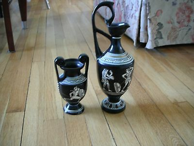 Greek urns, hand made in Greece, black with warrior designs, set of 2