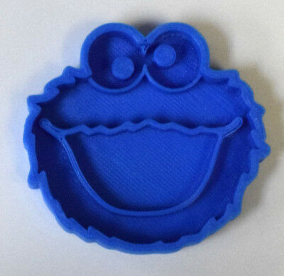 "Cookie Monster Sesame Street Fondant Cupcake Topper Size 1.75"" Fd546"